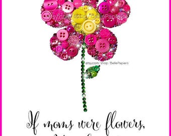 Cute Flower Wall Art | Fourth Anniversary Gifts | Fruit and Flowers Anniversary Prints | Mother's Day