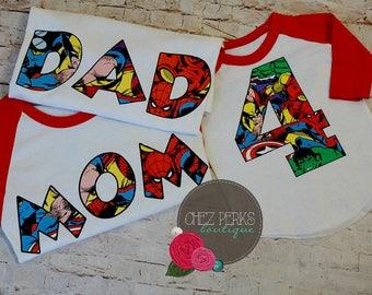 Avengers Number baseball T shirt for Boys, super hero birthday shirt