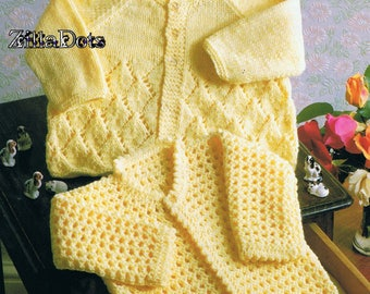 Baby Knitting Pattern, PDF Download,  6 ply yarn, to fit chest 41-46 cm.