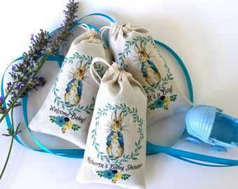 Peter Rabbit Baby Shower LAVENDER SACHET Party Favors | PERSONALIZED | Thank You Gift | Baby Shower | One Year Birthday | Custom | Set of 20