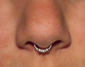 Fake Septum Ring, Sterling Silver 3 Ball Septum Nose Cuff © - NO PIERCING REQUIRED, fake nose ring, faux nose ring, faux piercing, jewellery