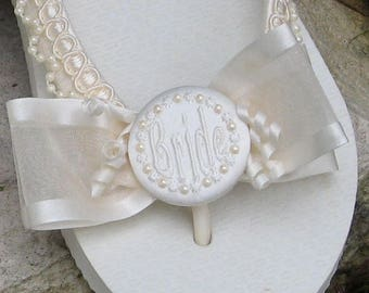 BEACH WEDDING Flip Flops with BOWS, Pearl Trim/Pearl Circle Buttons, Bride, Personalized, White or Ivory, Wrapped Straps, Flat or Wedge