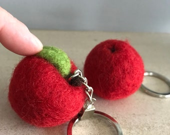 Needle Felted Apple Keyring