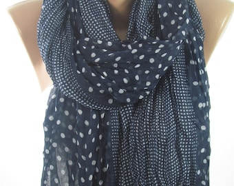Mothers Day Gift For Her Navy Scarf Shawl Polka Dots Scarf Crinkle Cowl Scarf Fall Winter Spring Scarf Mom Fashion Accessories   For Mom