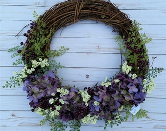 Purple and Lavender Hydrangea Wreath, Purple Wreath, Country Wreath, Farmhouse Wreath, Front Door Wreath, Wedding Decor, Door Wreath