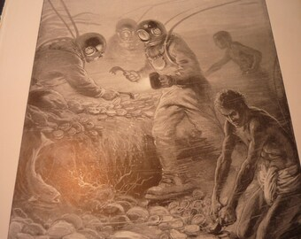 Pearl Divers Underwater Harvest 1904 - detailed print - Science Illustration - Print only or with Mat - Ships fast