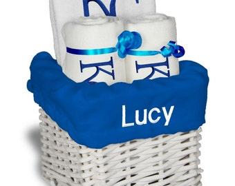 Personalized Kansas City Royals Baby Gift Basket - Bib, 2 Burp Cloths - Small