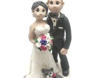 Custom wedding cake topper, personalized cake topper, Bride and groom cake topper, Mr and Mrs cake topper,With Pets cake topper