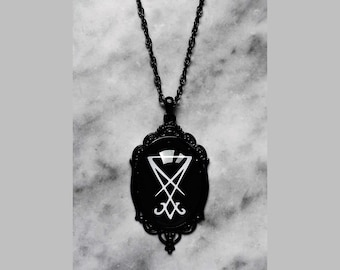 necklace cameo sigil seal of lucifer black satan satanic gothic dark occult esoteric pagan witch witchy witchcraft