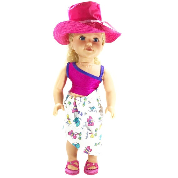 "Summer Accessories: Hat, Bag, Sandals - Fuchsia or Turquoise for American Girl and Other 18"" Dolls"