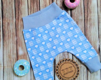 Baby girls Harem style Pants, Heart Print, Knit Fabric, white and blue Pants, Baby Pants, Girls Pants