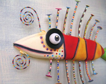 Little Barracuda, MADE to ORDER, Original Found Object Wall Sculpture, Wood Carving, Wall Decor, by Fig Jam Studio