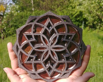 Seed of life merkaba ceramic flower, silver bronze glaze effect