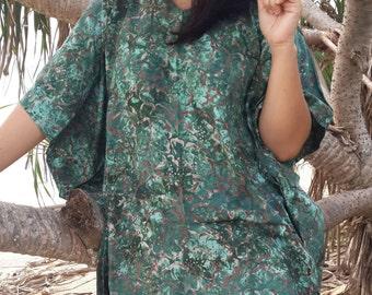 Plus Size, Moss Green, Batik Dress, Tunic Dress, Caftan Dress, Kaftan Dress, Pregnant Dress, Maternity Dress, Beach Coverup, Womens Dresses