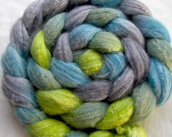 Merino/Bamboo/Silk Spinning Fiber  (Combed Top) 4 oz Hand Painted