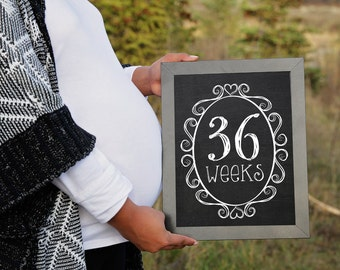 Weekly Pregnancy Chalkboard Signs 8x10, Weeks pregnancy countdown signs, Pregnancy Signs, Pregnancy Weeks, INCLUDES GENDER REVEAL