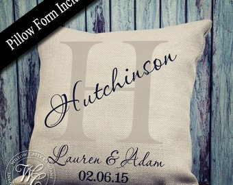 farmhouse decor, Family Name, Personalized Pillow, Burlap Pillow, Engagement Gift, Personalized Gift, Monogram Pillow, Personalized Burlap