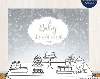 "Holiday Party Backdrop Silver Snowflakes ""Baby it's cold outside"" Party Banner Christmas Party - Printed or Printable File BAE0013"