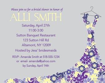 Custom Bridal Shower Invitation- Floral Dress
