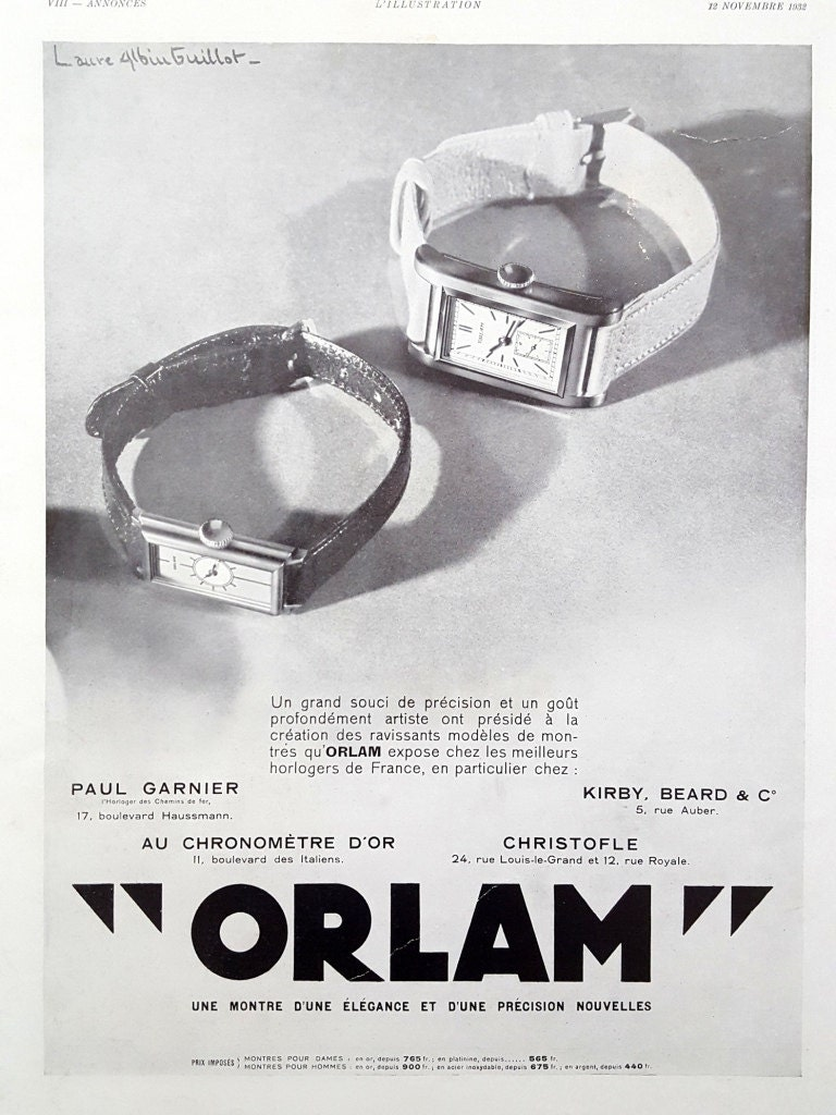 Orlam Watches Vintage Ad 1932 French Art Deco Vintage