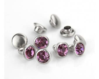 Amethyst rivets, crystal snap rivets, leather jewelry, round rivets, amethyst snaps, February birthstone, crystal rivets, 5 pack rivets