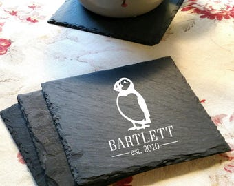 Engraved Puffin Slate Coaster Set