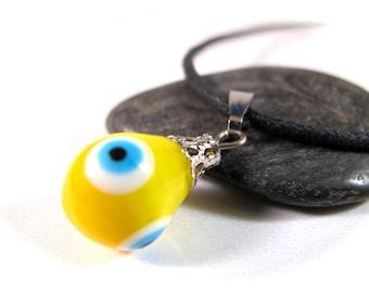 Yellow Evil Eye Pendant Necklace