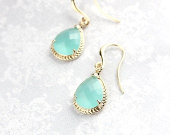 Mint Glass Earrings Gold Drop Bridesmaids Earrings Modern Jewelry Lightweight Everyday Earrings Aqua Mint Wedding Gift for Women