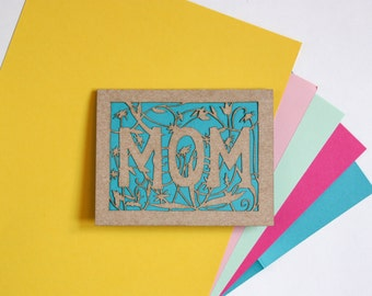 Flower Garden Mother's Day Card: Laser Cut Greeting Card--custom color + message