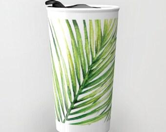 Palm Leaf  Travel Mug - Coffee Mug - Tropical Plant Leaf Ceramic Travel Mug With Lid - Aldari Home