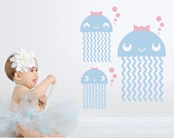 Jellyfish Wall Decals: Ocean Baby Nursery Under the Sea Cute Sea Life Underwater Beach Wall Sticker Kids Room Decor