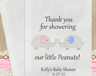 12 PaK Boy Girl TWINS ELEPHANT Baby Shower Candy Buffet Party Favor Cookie Bags  / Thank You for showering our Peanuts / Personalized