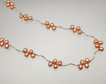 Sterling Copper Freshwater Pearl Squiggle Necklace