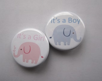 gender reveal party set of 20 gender reveal 1 inch or 1.25 inch buttons pinback flatback or hollowback