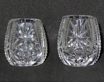 Two Antique 1930s Small Schnapps Glasses Bohemia Cut Crystal Glass
