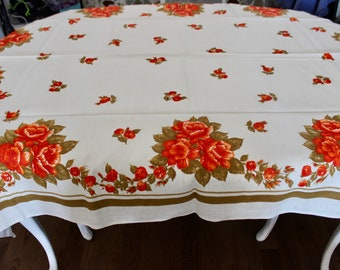 "Vintage Unused Linen Rectangular Tablecloth Rose Swag Print 51"" x 68"""