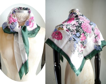 Silk Scarf / Floral silk fabric / Square Head Neck shoulder scarf / Green, white pink, blue Flower bouquet / Large scarf shawl/ Womens scarf