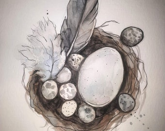 Spring Nest (original watercolor)