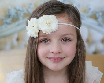 Ivory Flower Girl Headband, Ivory Flower Headband, Newborn Headband, Photo Prop, Baptism Headband, Wedding Headband, Communion Headband