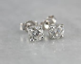 Classic Diamond Stud Earrings, April Birthstone, Bridal Jewelry FVMJMJ-N