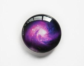 25mm handmade glass cabochon - purple spiral galaxy - standard profile