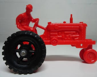 Marx Farm Playset Plastic Red Tractor, Free Shipping