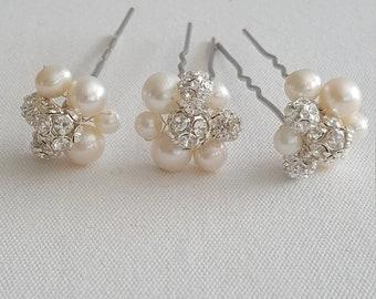Bridal Hair Pins, Freshwater Pearl & Rhinestone Hair Pins, Wedding Hair Pins, Wedding Headpiece