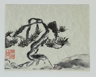 Scraggly Pine SP1 Printed HandMade Art Card From Original Sumi-e Ink Painting on Rice Paper