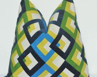 Yellow Trellis, Velveteen, Decorative Pillow, Throw Pillow, Toss Pillow, Geometric Pillow, Home Furnishing, Handmade Pillow, Made in USA