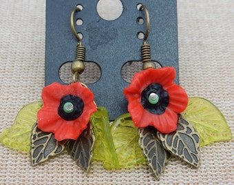 Poppy earrings, Handmade