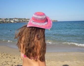 Multicolored Summer Floppy Hat. Women Cloche Wide Brim. Bridesmaid Crochet Romantic Hat. Sun Protection Cotton Lace Hat by dodofit on Etsy