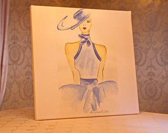 Lady with hat in blue