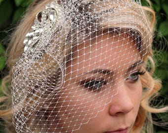 Crystal Birdcage Veil | Birdcage Veil | Crystal Blusher Veil | Bridal Veil | Ivory Wedding Veil | Hair Fascinator | Bridal Hairpiece | Bride