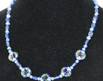 Blue and Gold Cloisonne Circles with Blue Rutilated Quartz and Bicone Beads Necklace
